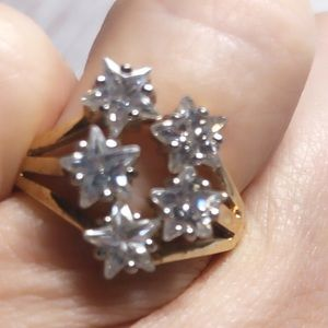 Pretty Vintage 5 Lab Created Diamond Stars Ring